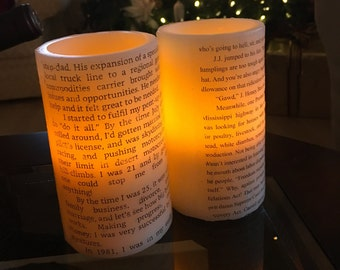 Customized Book Page Candles- Natural Soy Wax or LED