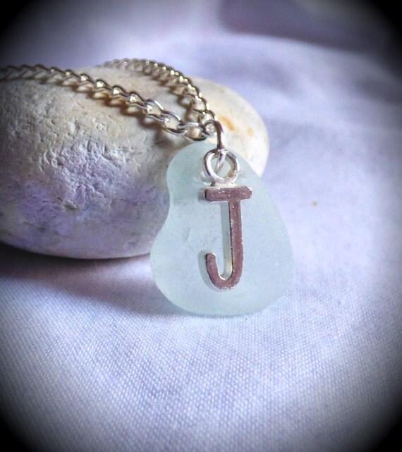 Initial J, Sea Glass Pendant, Name Pendant, Initial Necklace, Seaglass Jewelry, J Jewelry, J Pendant, Letter Pendant, Sea Glass - PC17014