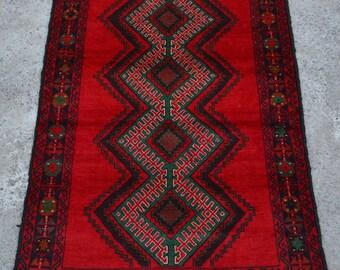 LA380, Afghan Vintage Taimani Kuchi Baluch Rug 2u002710 X 4u00275 Ft