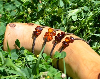 macramé - little bracelet - pearls of natural amber - micro macrame