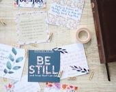 Floral Scripture Cards, Set of 8, Verses for Comfort and Encouragement, Instant Download