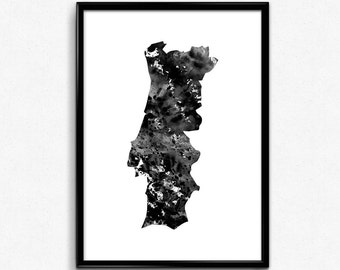 Portugal Map Etsy - Portugal map black and white