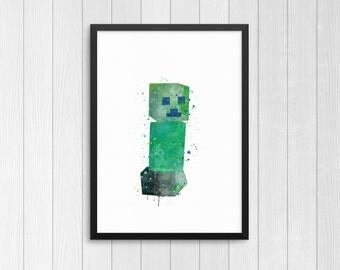 Minecraft Creeper, Minecraft creature, Minecraft monsters, Watercolor Print