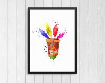 Aku Aku, Crash Bandicoot Aku Aku, Crash tiki mask, Crash Bandicoot watercolor