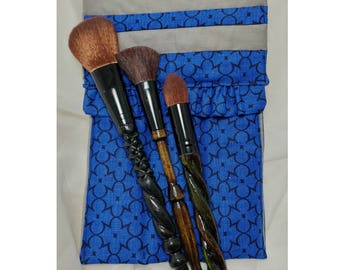 House Pride Makeup Brush Pouch (Blue & Gray), Holds 3 Makeup Brushes, Quilted Pouch, Handmade Makeup Accessories