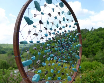 Dreamcatcher blue RELAXATION, Chrysocolla, Turquoise Howlite Smoked Quartz, Gemstone art, Home decor, Native American