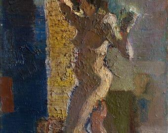 Original Art Oil Painting Nude Woman Figure In Art Studio. Painting Sketch Expressive Art Work. Naked Emotional Woman Portrait. 2011.