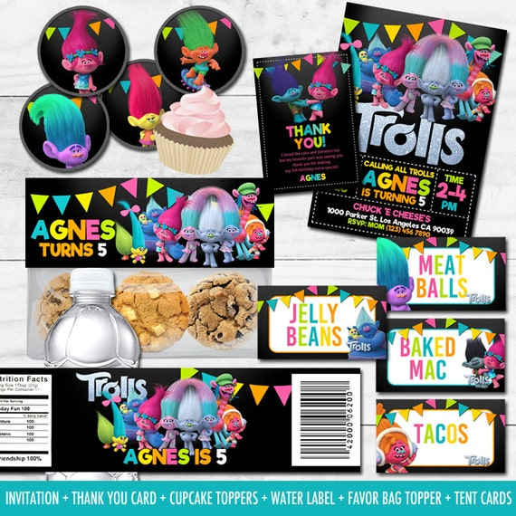 Printable Trolls Birthday Party Package