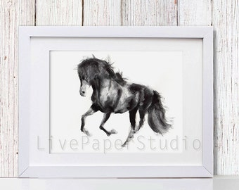 Watercolor Black Horse print, Animal Art giclee print, Black Horse Wall Art, Horse home Decor, Animal painting, black and white prints