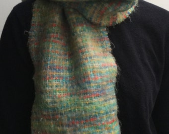SALE * Vintage knitted soft mohair textured multicoloured warm scarf red blue cream green