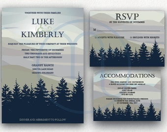 Printable, Customized Blue Green Rustic, Mountain, Trees, Wedding Invitation, RSVP Card, Accommodation Card, Details Card Digital Invitation