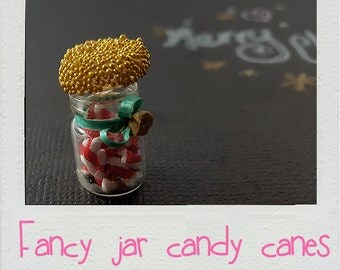 Dollhouse Miniatures Decor 1:12 scale Clutter Jar of Candy Canes Artisan Modern