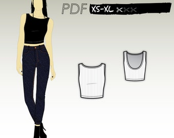 XS-XL Sleeveless crop top with slash neck and low back  (PDF sewing pattern for ribbed knits) Kommatia Patterns