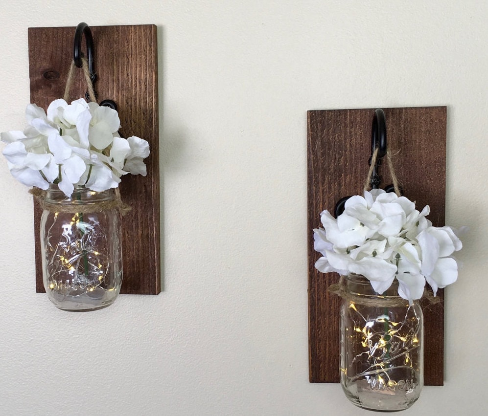 Wall Sconces Decor : Mason Jar Wall Decor Hanging Mason Jars Mason Jar Sconces