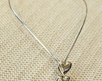 Modernist 1970s sterling silver necklace, heart design