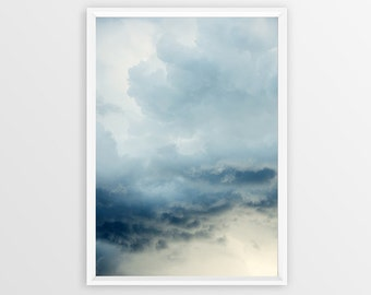 Cloud Storm Photo Print Instant Download | Sky Blue Clouds Photography | Modern Home Decor Wall Art | Printable Poster Postcard Cloud Image