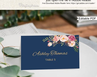 Place Card Template, Printable Place Card, Seating Cards, Table Numbers, Place Cards, Fits to #A011, Editable PDF-you personalize at home.