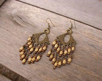Beige And Brown Wooden Earrings Antique Bronze Earrings Seed Bead Earrings Boho Chandelier Earrings Wooden Jewelry Beaded Earrings