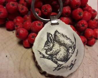 Original Engraved Keychain, Squirrel Keychain, Deer Antler Keychain, Laser cut Keychain, Wildlife, Christmas gift, Gift for him and for her