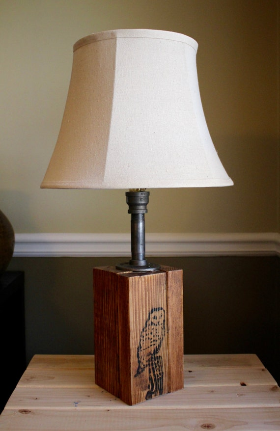 items similar to rustic owl wooden table lamp industrial lamp iron wood unique lamps. Black Bedroom Furniture Sets. Home Design Ideas