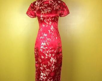 Free SHIPPING Red Cheongsam Dress / Qipao Dress / Bright Floral Chinese Maxi Dress / Asian Mandarin Dress / Oriental Vintage Dress / small