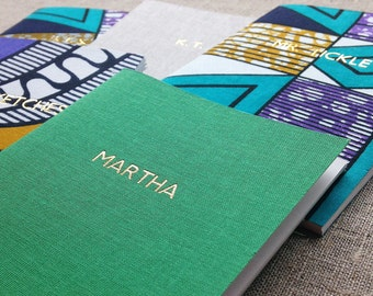 Personalised notebook foil-blocked in gold // 22 coloured linens & African fabrics to choose from