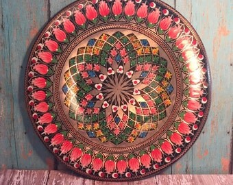 Vintage Plate Turkish Copper Hand Painted Folk Art