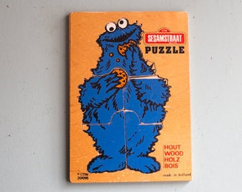 Vintage wooden puzzle Sesame Street, Cookie monster