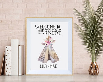SALE // Welcome To Our Tribe // Print // Custom Name // Personalised // Nursery // Baby Shower // Baby Gifts // Boho // Teepee
