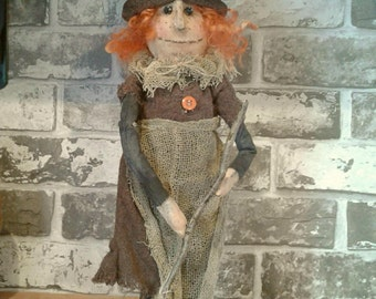 Primitive Witch - Handmade Doll - OOAK Doll - Hand Painted - Art Doll - Collectible Doll - Primitive Doll - One Of A Kind Doll - Doll -