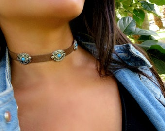 Choker Necklace, Suede Choker Necklace, Bohemian Choker, Fashion Trendy Jewelry, Suede Choker, Brown Turquoise Choker, Christmas Gift