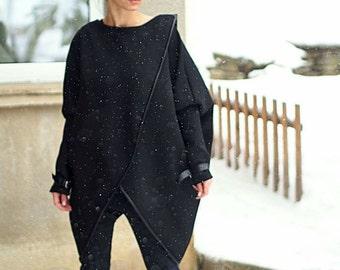 Black Asymmetric coat/Asymmetric black poncho/extravagant black loose sleeve top/asymmetric black blazer