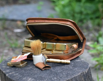 Vintage shaving set, Mens shaving kit, Shaving set, Toiletry kit, Travel kit, Leather shaving kit, Travel shaving kit, Gold tone shaving set