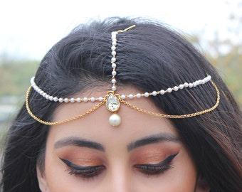 Kundan Pearl Headpiece Tikka Jewelry Indian Bridal Jewelry