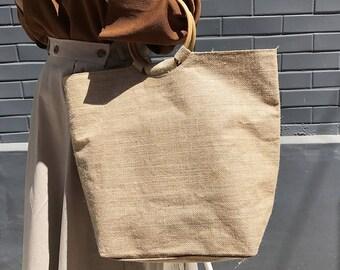 Beige linen tote eco bag-Minimalist linen-Natural Linen Bag - Canvas Bag - Linen Tote Bag - Washed Linen Bag - Big Market Bag - Beach Bag