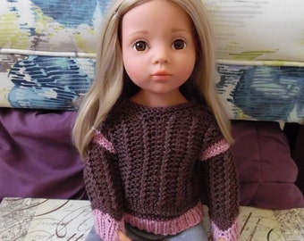 TeeterTotShop Designs Organic Knitted Sweater for Gotz, Kidz n Cats, 18 inch Girl Doll