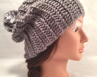 Women's slouchy hat - Gift for her - crochet hat - winter fashion - crochet slouch hat - pom pom hat - grey toque - grey pom pom -