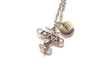 Airplane Necklace, Silver Propeller Plane Charm, Initial Necklace, Travel Charms, Personalized Stamped Monogram Initial (CH13)