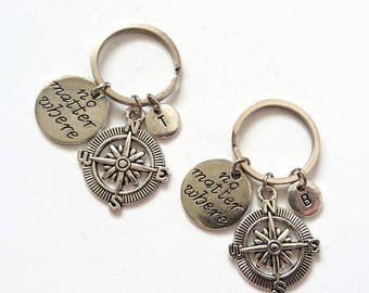 Couple Keychains, Best Friends Keychain, Compass Charm Keyrings, No Matter Where, BFF Keychain, Couple Keychain, Friendship Keychain