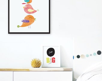 Colorful Nursery Wall Art, Birds Print, Cute Girls Room Decor, Rainbow Nursery Printable Art, Watercolor Art Print, Baby Girl Nursery Decor