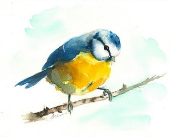ORIGINAL Bird Watercolor Blue Tit Painting Bird Illustration Animal Nursery Art Hand Painted 5x7