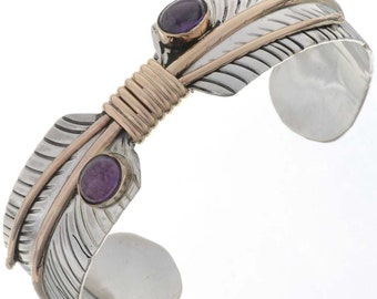 Native American Amethyst Silver Gold Feather Bracelet Quill Cuff