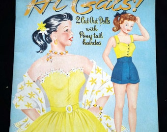 Hi Gals! Rare Vintage Paper Dolls-Whitman-1953- 2 Cut-Out Dolls with Ponytail hairdos-Collectible Paper Dolls