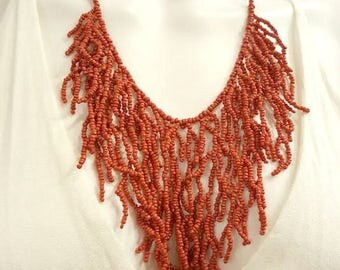 Coral Branch Beaded Statement Necklace
