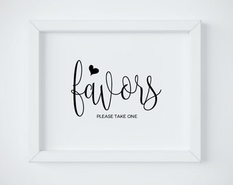 Favor Sign, Please Take One Sign, Wedding Favor Sign, Rustic Signage, Rustic Reception Sign, DIY printable, Instant Download Reception Sign