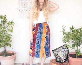 Vintage Hippy Wraparound Midi Skirt