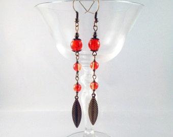 "Bronze earrings ""Fire red chestnut"""