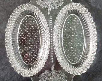 Rare 1879 MAPLE LEAF clear double relish Pressed Pattern Glass dish Campbell Jones EAPG beautiful server Early American
