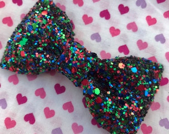 Green & Red Glitter Hair Bow