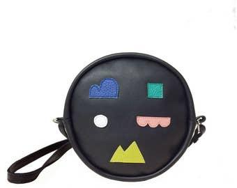 Leather Bag - Neon Sign - Black & Shapes